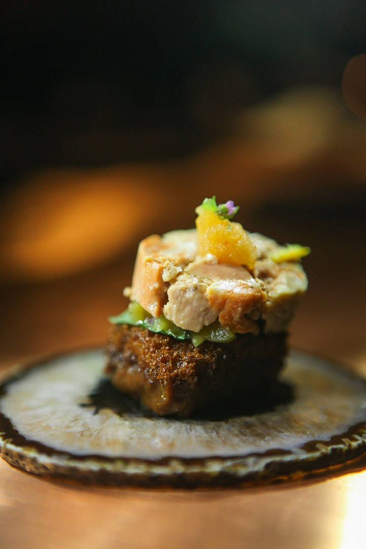 Mecha Uma's monkfish liver paired with pickled eggplant (Photo: George Tapan)