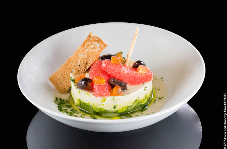 Roy's dish of goat's cheese with tapenade and olive oil.