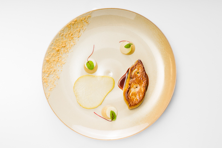 Seared duck foie gras with beurré hardy pear with caramel jus