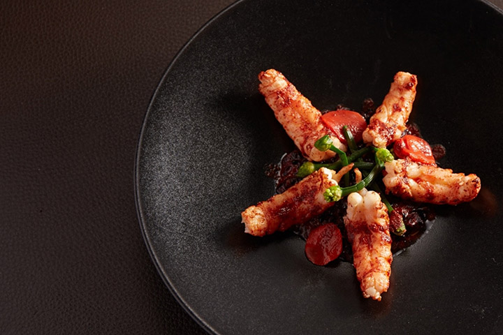 Grilled Langoustine, Risotto Venere and Masala Butter. Photo credit: Seasons.