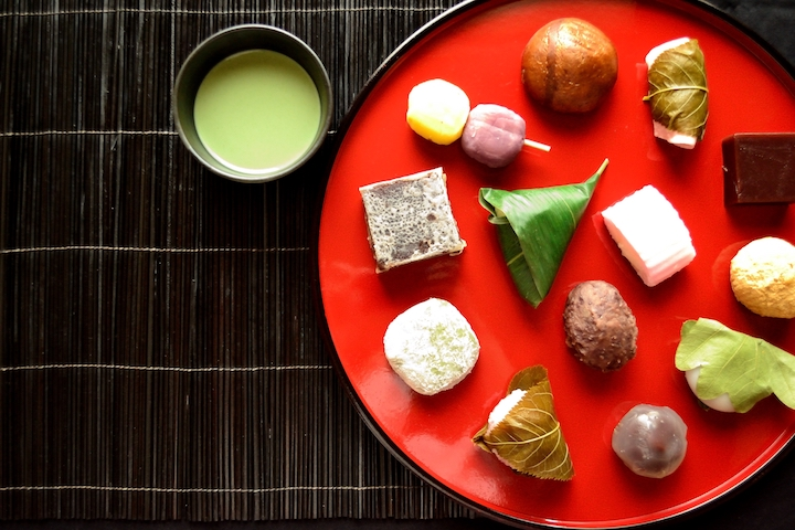 Assortment of summertime wagashi with green tea