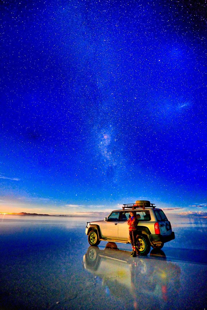 夜間的天空之鏡,漫天星星。(攝影:鄔智明)