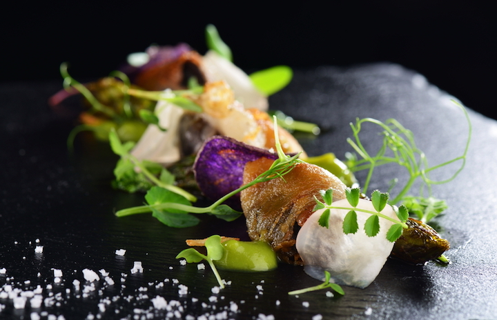 Dressing seafood with delicate strips of lardo add a creamy richness to the dish.