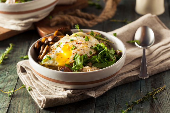 Ditch the usual sweet oatmeal combo for this savoury option