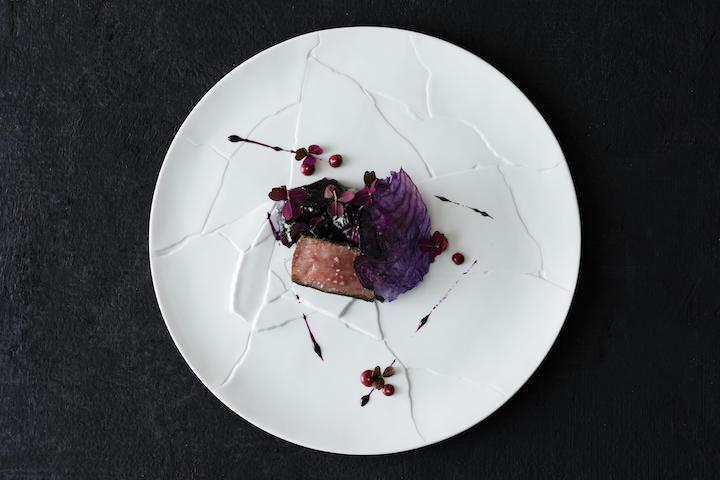 Miyazaki wagyu beef, strip loin, barbecued with dulse & red cabbage slaw, oxalis, horseradish & pepper berry emulsion.
