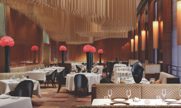 The interior of two Michelin-starred Amber restaurant.