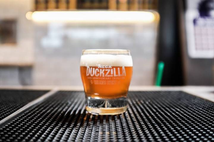 The Mega Duckzilla is a triple IPA entitled that tops out at almost 9% ABV. Image Source: Duck Foot Brewing Company Facebook page.