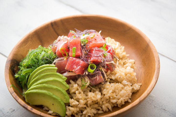 Poke is traditionally made with ahi tuna or octopus